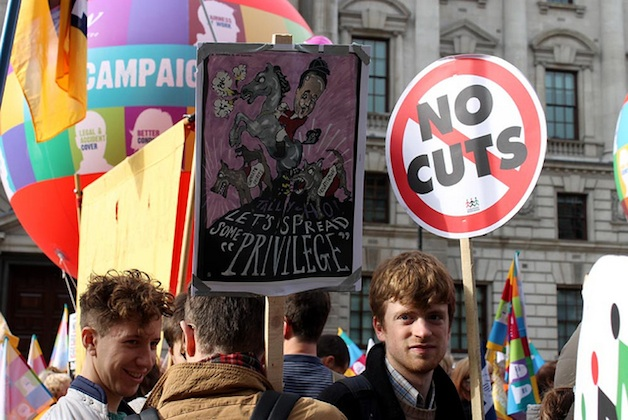 Protests in London against austerity measures